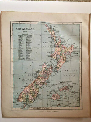 1882 - Antique map of New Zealand