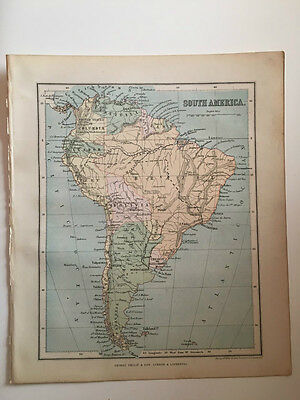 1882 - Antique map of South America