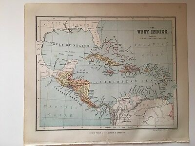1882 - Antique map of the West Indies