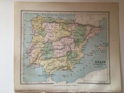 1882 - Antique map of Spain and Portugal