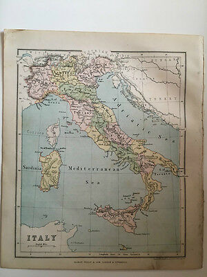 1882 - Antique map of Italy
