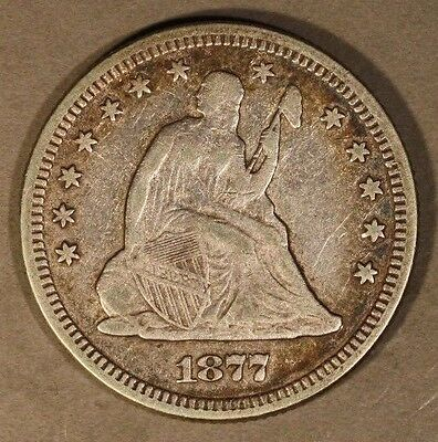 1877 Seated Liberty Quarter Silver Circulated       ** FREE U.S SHIPPING **