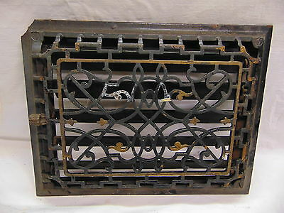 #3-1890's Antique Ornate Victorian Cast Iron Black Wall Grate Register Vent