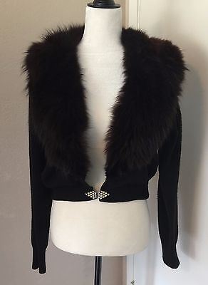 Beautiful Vintage 50s Black fur collar cashmere sweater with rhinestone clasp L