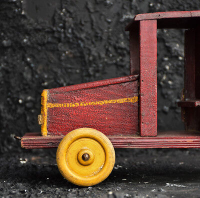 Antique French Red Folk Art Hand Made Huge Toy Truck Decorative and Rare Item