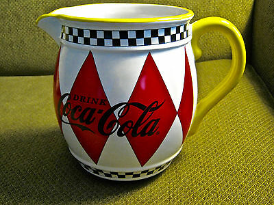 Coca-Cola Checker Board Pattern Ceramic Pitcher