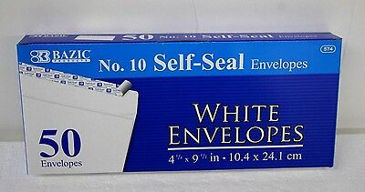 "50 Peel and Self-Seal White Letter Mailing Long Envelopes 4-1/8""x9-1/2"" #10 size"