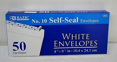 Peel and Self-Seal No. 10 White Mailing Envelope 50 business size  4-1/8 x 9-1/2