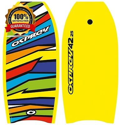 Osprey Shatter Bodyboard Slick Board with Leash Strap Yellow Size 42