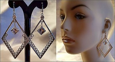 "SILVER or GOLD 3.5"" DIAMOND SHAPE DANGLE DROP CRYSTAL HOOK EARRINGS NEW"