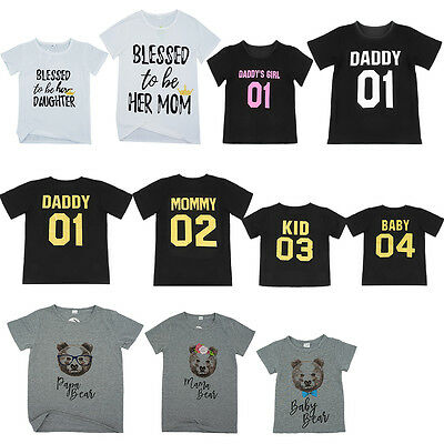 Dad Mom Kid Baby Family Matching Outfits T-shirt Blouse Tops Tee Clothes Romper