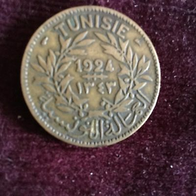 1924 French 2 Francs Tunisie Aluminum Coin