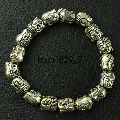 Chinese collection old Tibetan silver amulet Guanyin Bracelet LQQ13