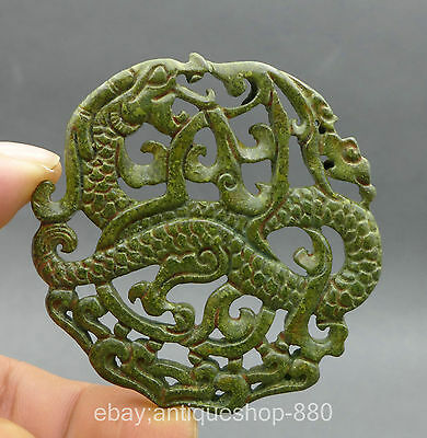 Chinese Natural Old Jade Hand Engraving Ancient Mythology Dragon Statue Pendant