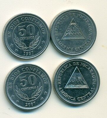 2 DIFFERENT 50 CENTAVO COINS from NICARAGUA DATING 1997 & 2007