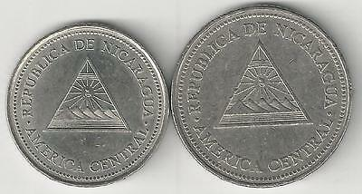 2 DIFFERENT COINS from NICARAGUA - 1 & 5 CORDOBAS (BOTH DATING 1997)