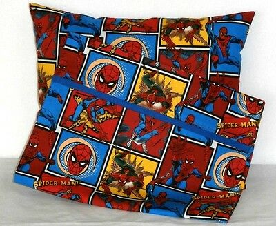 Spiderman Toddler Pillow and Pillowcase set Multi-Color Cotton 16-3 New Handmade