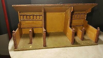 Antique Christmas Tree Putz Wood Horse Stall Barn Doll Toy House Ornament