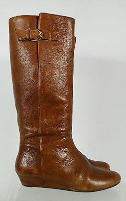Steven By Steve Madden Brown Leather Buckle Pull On Boots Size 7.5M