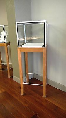 Elevated square glass locking display case with wood, metal frame