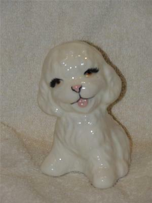 """Vintage Hand Painted  Ceramic White Poodle Puppy Dog Figurine Japan 4 1/4"""" Tall"""