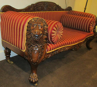 Unique Antique Style Carved Lion Head Wood Sofa Couch Loveseat w/ Cushions LOOK!
