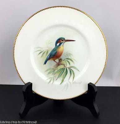 "Royal Worcester Signed POWELL Hand Painted Bird KINGFISHER 6"" Plate c.1934"