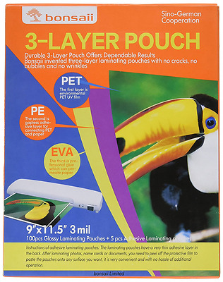 Bonsaii 3-layer Thermal Laminating Pouches,9 Inches x 11.5 Inches,3 Mil Thick,10