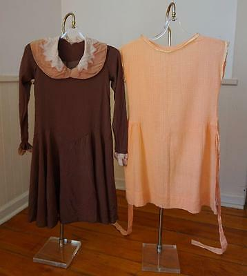 SWEET Lot of 2 Antique Vtg 20's Flapper Girl's Dresses * Silk * Cotton * Size 7