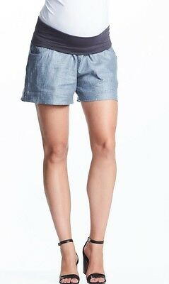 Soon Maternity Denim Coloured Isabel Linen Shorts Sz 12 Worn Once. As New