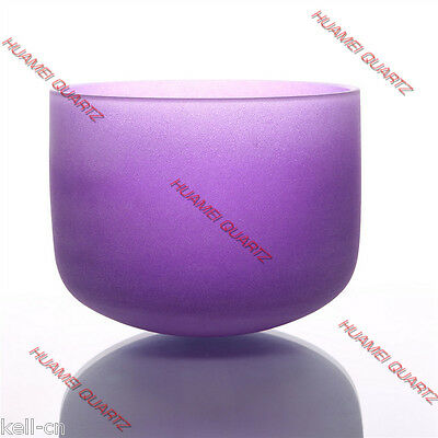 """HUAMEI 8"""" Note B Chakra Crown Violet Frosted Quartz Crystal Singing Bowl"""