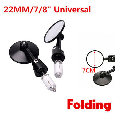 "New 2pcs Universal Motorcycle Round 7/8"" Handle Bar End Side Rearview Mirror"