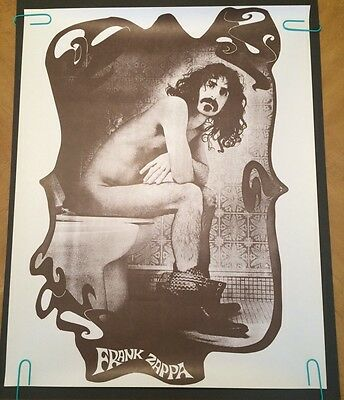 vintage Frank Zappa Toilet pin-up poster sitting on toilet brown version 70's