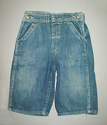 Old vtg 1950's X-Small Boys Denim Jeans Donut Buttons Indigo Framable Very Nice