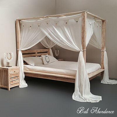 MAXI Minimalistic Four Poster Hand Carved Bed Whitewash Queen Size Teak Wood