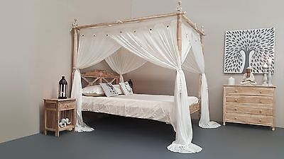 SEASIDE Minimalistic Four Poster Hand Carved Bed Whitewash Queen Size Teak Wood