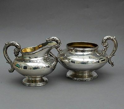 19thC Silver Plated on Copper Milk Jug & Sugar Bowl ~ Engraved Griffin Armorial