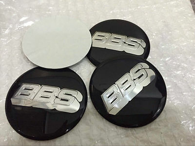 4pcs BBS 60mm BLACK SILVER WHEEL CENTER CAP DECAL STICKER Cap Emblem Badge Honda