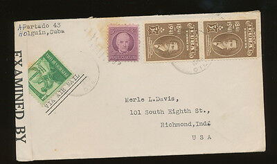 Vintage 1941 1CUBA to USA Censored cover