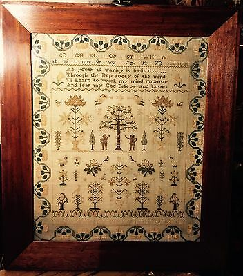 Gorgeous quality Antique Tree of Life Sampler.Caroline Cornford 1830.Conserved.