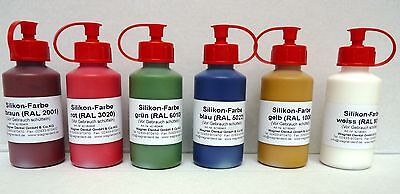 Silicone paint Color pastes Pigments for rubber 6 various RAL colours 50g