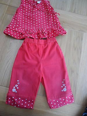 Baby Girls summer Set - Age 12-18 months - Red Polka Dot