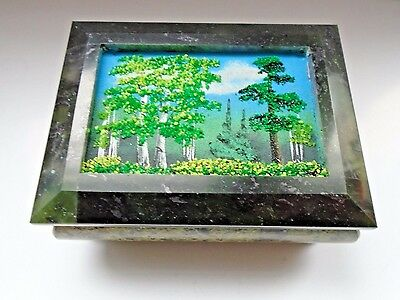 box from serpentine with a picture of a stone crumb 115*80*55 mm handmade casket