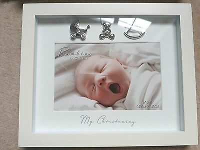 cream photo frame baby newborn gift silver and glass