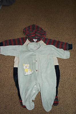 2 baby boy velour sleepsuits size 3-6 months