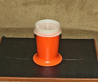 Tupperware Orange Kids Child Toddler No Spill Tumbler Glass #1318-7 with Lid