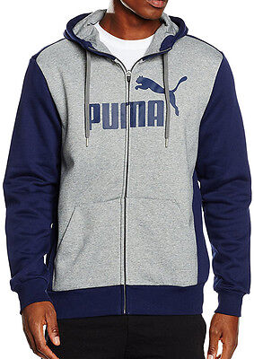 Puma Style No.1 Logo Full Zip Mens Fleece Running Hoody - Blue