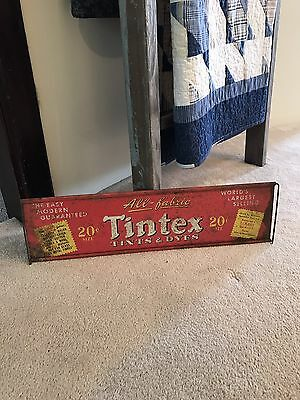 Original 1950's Tintex Tints & Dyes Double-Sided Metal Advertising Sign- Nice