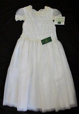 NWT Posies Wedding White 10 Dress Communion Easter Tulle Flower Girl Party Lace