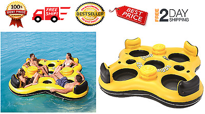 Inflatable 4 Person Tube Island Floating Raft River Lake Pool Party Ocean Water